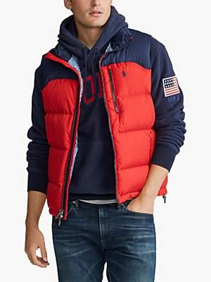 Ralph Lauren Polo Packable Down Gilet, Red/Cruise Navy