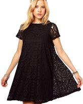 Sunmy Women's Plus Size Dress Summer Loose Short-Sleeved Lace Skirt 4XL