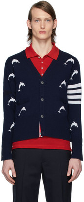 Thom Browne Navy Dolphin Half Drop Cardigan