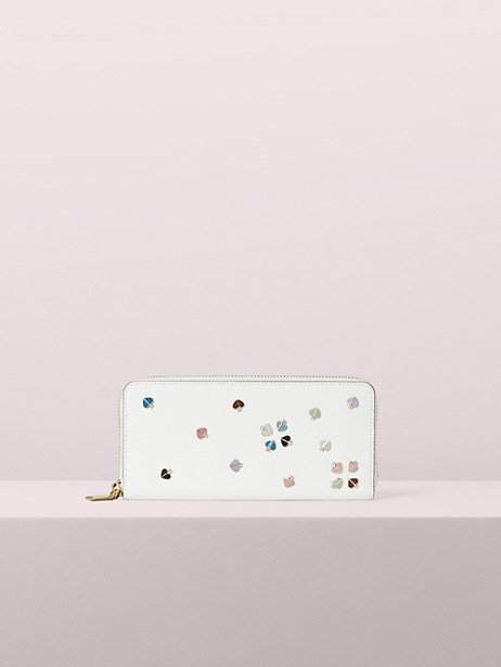 Kate Spade Margaux Enamel Spade Slim Continental Wallet, Optic White