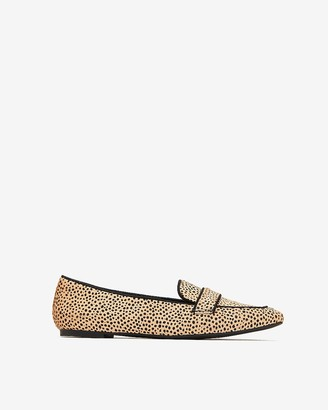 Express Genuine Calf Hair Spotted Square Toe Loafers