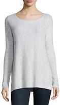 Joie Kashani Boat-Neck Waffle-Knit Sweater, Porcelain/Light Gray