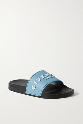 Givenchy Logo-print Rubber Slides - Light blue
