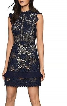 Reiss Lena Fitted Lace Dress