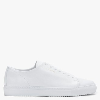 Axel Arigato Mens Smooth Leather Cap Toe White Pebbled Leather Low Top Trainers