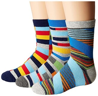 Jefferies Socks Funky Stripe Crew 3-Pack (Toddler/Little Kid/Big Kid) (Multi) Boys Shoes