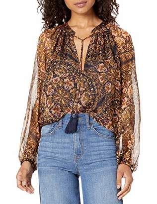 For Love and Liberty Women's Silk Printed Peasant Blouse