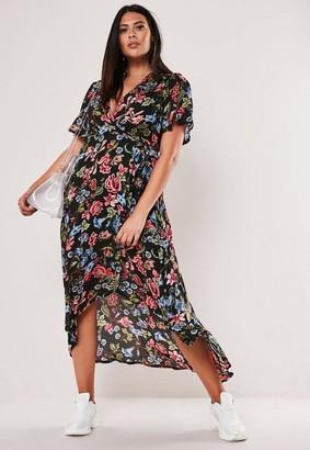 Missguided Plus Size Black Floral Print Wrap Midi Dress
