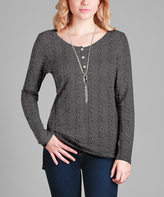 Aster Gray Cable Knit Henley - Plus Too