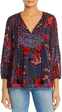 Daniel Rainn Printed Tie-Neck Blouse