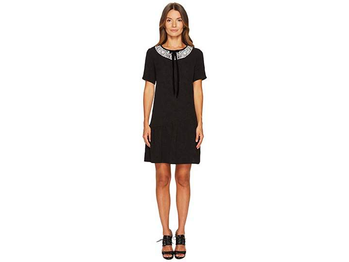 The Kooples Short Sleeve Dress with Rear Zip and Frilled Hem Women's Dress