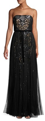 Marchesa Strapless Sequin Tulle Gown