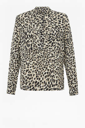Great Plains Leopard Print blouse - 14 | polyester | stone | Leopard - Stone