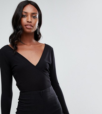 ASOS DESIGN Tall body with deep wrap front and back in black