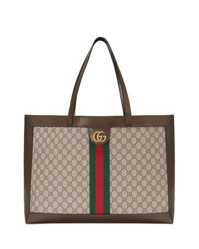 c1844cb0fbd Gucci Ophidia Soft GG Supreme Canvas Tote Bag with Web