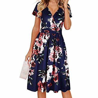 Toamen Women's Dress Toamen Dresses Sale Women's Summer Wrap V Neck Bohemian Floral Print Short Sleeve Beach Party Swing A-Line Dress(Navy 14)