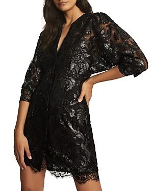 Reiss Kaya Metallic Floral Dress