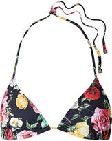 Dolce & Gabbana Floral-print Triangle Bikini Top - Black
