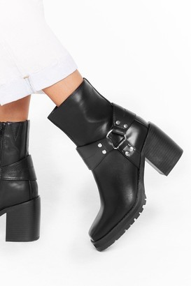 Nasty Gal Womens Don't O-ring Me Down Faux Leather Ankle Boots - Black