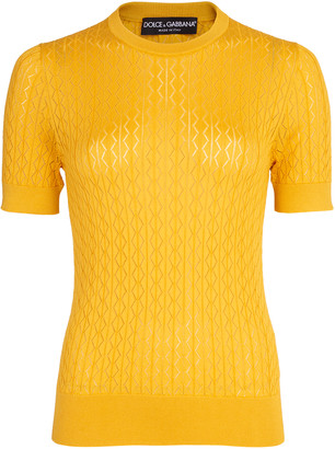 Dolce & Gabbana Yellow Crewneck Knit