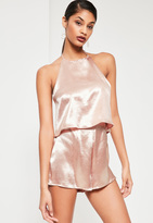 Missguided Pink Double Layer Halterneck Satin Romper