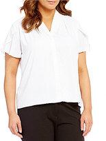 Calvin Klein Plus V-Neck Flutter Sleeve Button Front Solid Blouse