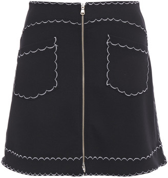 McQ Embroidered Stretch-jersey Mini Skirt
