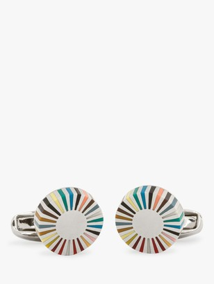 Paul Smith Multicoloured Stripe Edge Circular Cufflinks, Multi