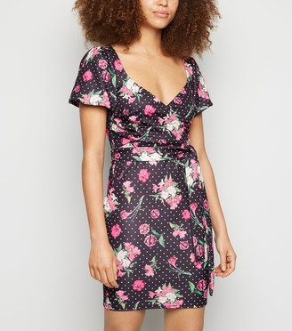 New Look Urban Bliss Floral Spot Puff Sleeve Dress