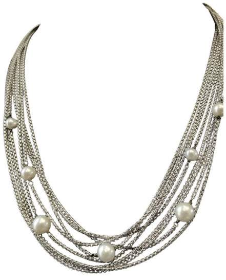 David Yurman Sterling Silver Freshwater Pearl Six Strand Necklace