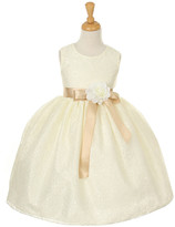 Couture Cinderella Girls' Special Occasion Dresses ivory/Champagne - Ivory & Champagne Floral Waist-Bow Dress - Toddler & Girls