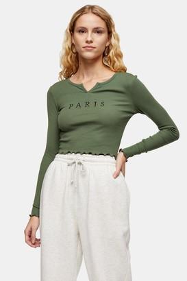 Topshop Womens Khaki Paris Notch T-Shirt - Khaki
