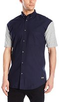 Zanerobe Men's Colorblock 7 Foot Tall Short Sleeve Button Down Shirt