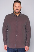 Yours Clothing D555 Red & Navy Printed Long Sleeve Shirt