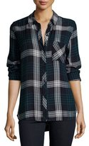 Rails Hunter Plaid Long-Sleeve Shirt, Indigo/Emerald