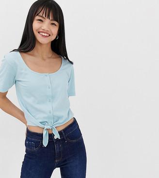 Brave Soul Petite tie front crop t shirt with button front-Blue