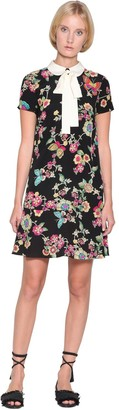 RED Valentino Floral Printed Crepe De Chine Mini Dress