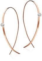 Lana Upside Down Small Diamond & 14K Rose Gold Flat Hoop Earrings/1""