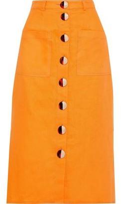 Nicholas Button-detailed Linen Midi Skirt