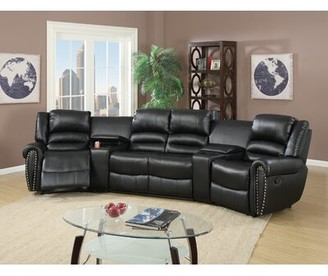 Darby Home Co Reclining Home Theater Sectional Darby Home Co Upholstery: Black