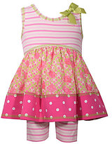 Bonnie Jean Bonnie Baby Baby Girls 12-24 Months Mixed-Print Dress & Striped Shorts Set