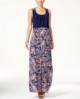 Trixxi Juniors' Crisscross-Strap Printed-Skirt Maxi Dress