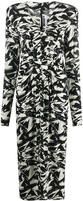 Rotate by Birger Christensen Abstract Print Midi Dress