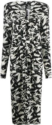 Rotate by Birger Christensen Abstract Print Midi Dress