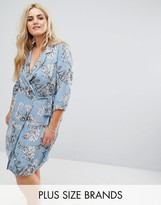 Alice & You Floral Wrap Shift Dress With Collar And Tie Waist