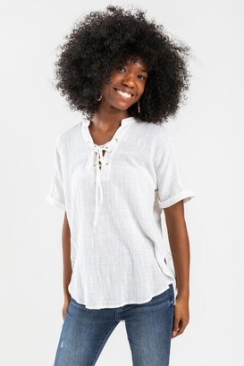 francesca's Andie Lace-Up Blouse - Ivory