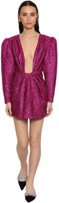 DANIELE CARLOTTA Draped Deep V-neck Lurex Mini Dress