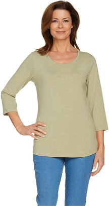 Denim & Co. Essentials 3/4 Sleeve Scoop Neck Top