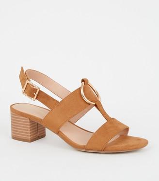 New Look Suedette Ring Strap Block Heel Sandals