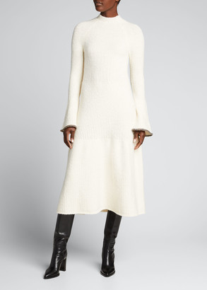 Proenza Schouler Textured Knit Bell-Sleeve Midi Dress